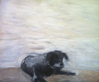 Oil painting of a black dog