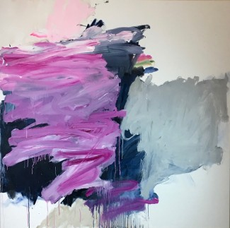 pink and black painting abstract